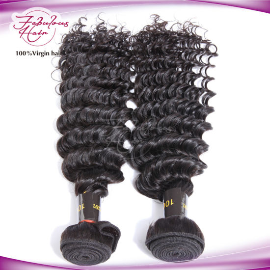 Deep Wave Natural Black Human Indian Remy Hair pictures & photos