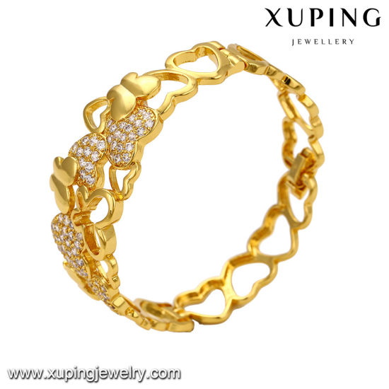 51672 Fashion Alloy Heart Shaped CZ 24k Gold Bangle for Lover′s Gift pictures & photos