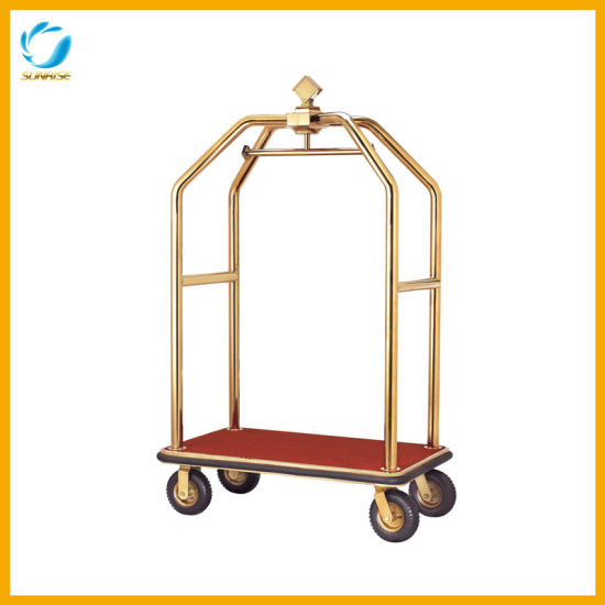 New Arrival Hotel Lobby Crown Stainless Steel Luggage Cart
