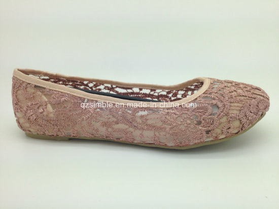Summer Flat Lady Shoes with Mesh Embroidery