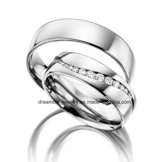 China Finger Ring Fashion Jewelry Wedding Ring Couple Sets Rhodium