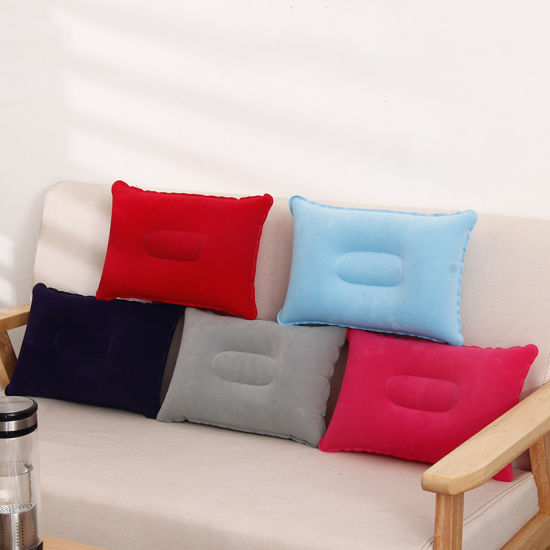 Super-Thick Flocking Fabric Inflatable Pillow Portable Travel Pillow pictures & photos