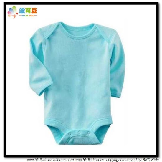 Plain Blue Baby Clothes Long Sleeve Newborn Bodysuits