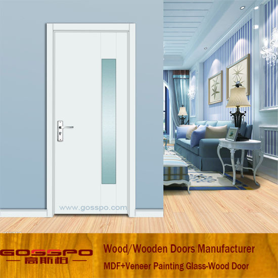 China White Paint Living Room Entrance Glass Wooden Door Gsp3 049