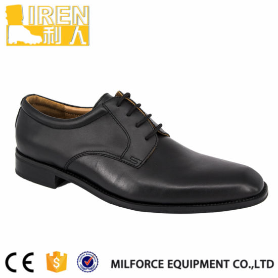 Black Full Grain Cow Leather Uniform Shoes pictures & photos