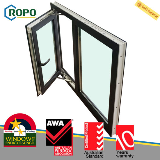 outlet store 55267 dbe2d China German Veka UPVC Double Glazed Black French Windows ...