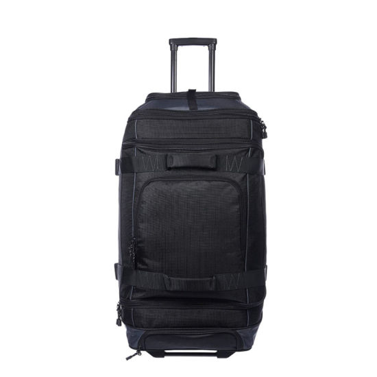 High Capacity Waterproof Ripstop Rolling Travel Luggage Duffle Bag with Wheels for Travel Cambing- 32.5 Inch, Black