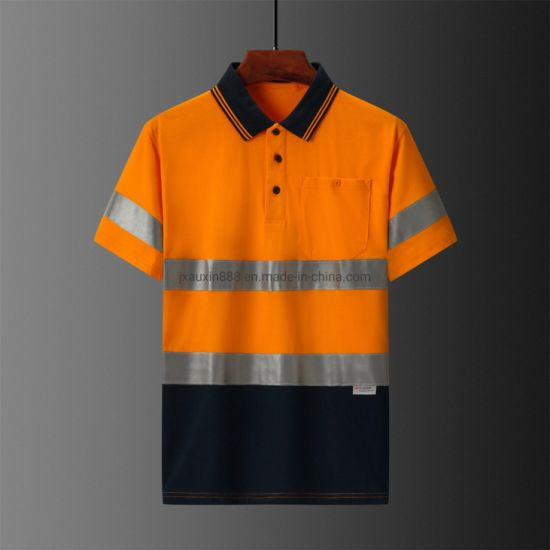 Cotton Workwear Polo Shirt Hivis Polo Shirt with Reflective Tape