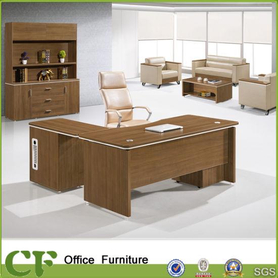 Modern Melamine Wood L Shape Executive Table With Side Desk