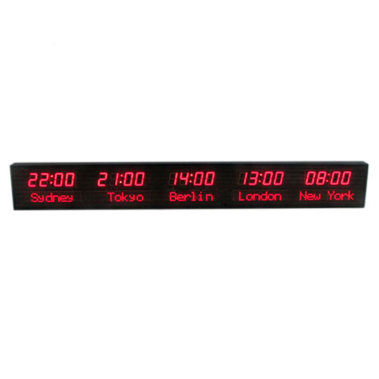 1.8 Inch Digital 5 World City Time LED Clock for Airport