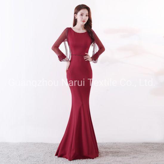 Round Neck Slim Woman Evening Dress with Sequins Tassel 91267#