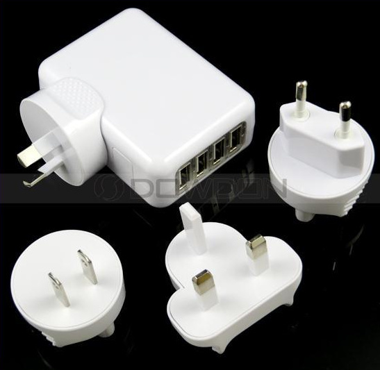 5V 2.1A EU/Us/UK/Au Plug 4 USB Port Travel Wall Charger for iPad iPhone Mobile Phone