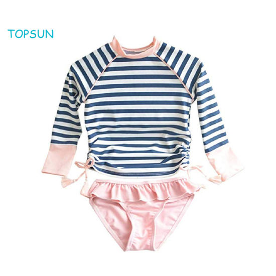 Baby Toddler Girls Rash Guard Bathing Suits Long Sleeve One Piece Swimsuits with UPF 50 Sun Protection