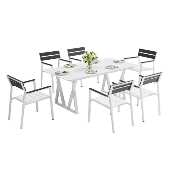 Modern Outdoor Leisure Aluminum Restaurant Dining Table and Chairs Garden Set