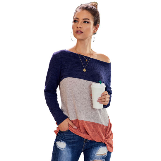 Fashion Women Blue Color Block Crew Neck Long Sleeve Top T-Shirt