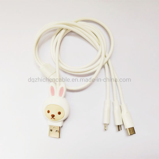 USB to Micro & 8p to Micro to Type-C Data Cable Charge Connect Wire Lightning Cable 3in1