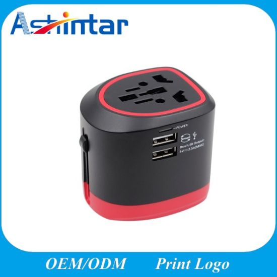 Multinational Universal Power Travel Adapter with Dual USB Charger Us UK EU Au Plugs Universal Adapter