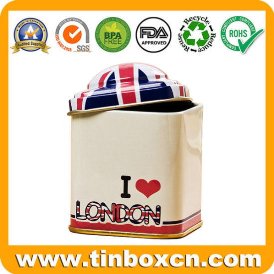 Small Mini Square Tea Tin Can for Metal Storage Box