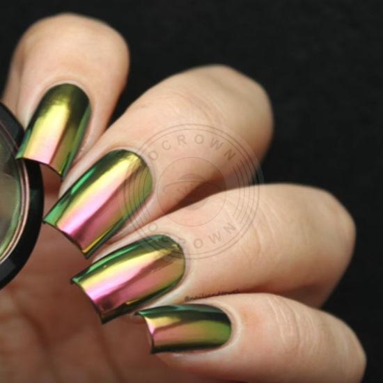 88541 Gold Green Chameleon Glitter Chrome Gel Polish Pigment