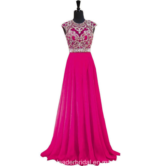 Fuchsia Prom Party Gowns Beaded Evening Hollow Back Chiffon Evening Cocktail Dresses Y1033
