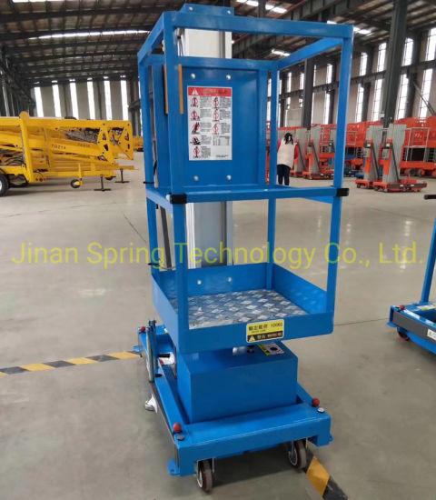 6m 8m Aluminum Lift Table Single Mast Work Lift Platform Electric Lift Table Lifting Equipment Aerial Work Platform Work Platform