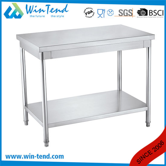 Industrial Kitchen Equipment 2 Layers Board Adjustable Stainless Steel Metal Round Tube Working Bench pictures & photos
