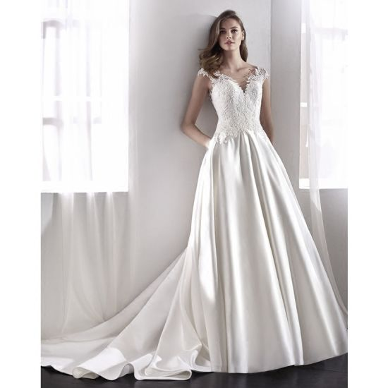 5c2fc4c6917 China White Satin Bridal Gowns Lace Cap Sleeves Wedding Dress 2018 ...