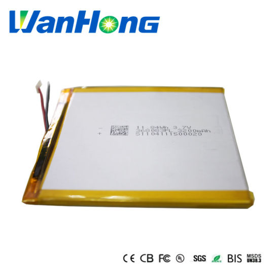 Un38.3 IEC62133 Kc Large-Capacity Lithium Battery 368083pl 3200mAh 3.7V Li-Polymer Lithium Li-ion Battery for Tablet PC E-book MID