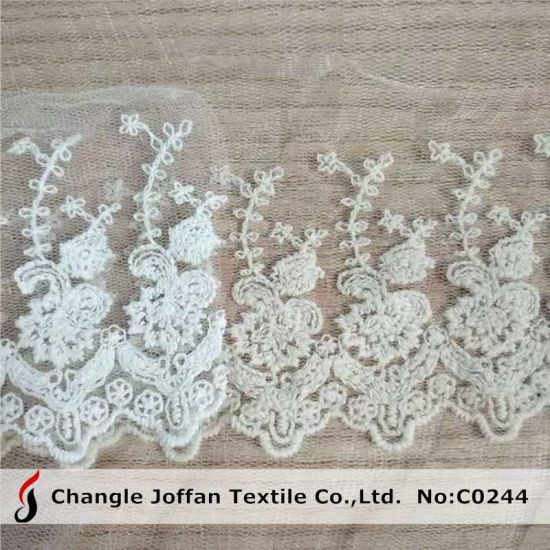 Customized Bridal Trimming Lace Cotton Embroidery Lace (C0244)