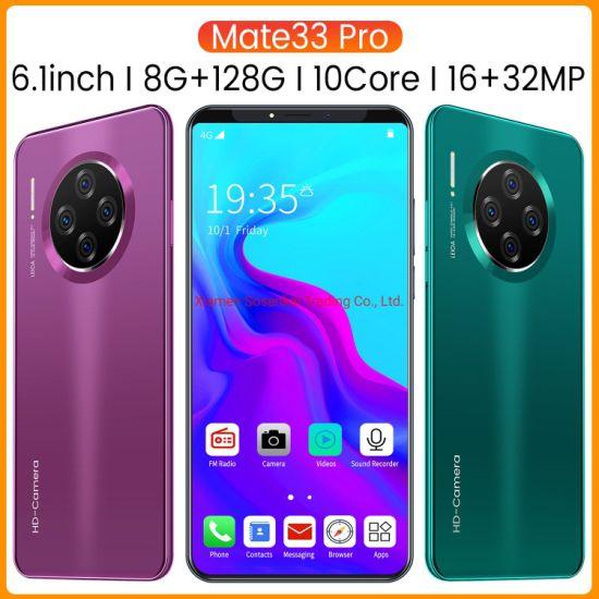 Factory Wholesale Original Mate 33 PRO Smart Phone 6 Inch 8GB / 128GB 10 Core 4G Fingerprint Unlock Mobile Phone SIM Dual Card Cell Phone