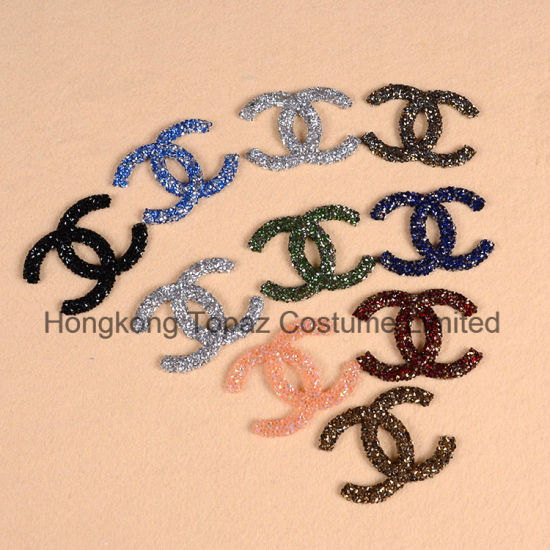 Hongkong Topaz Custom Stickers Logo Hotfix Pointback Rhinestone Stickers Iron on Letter Patches