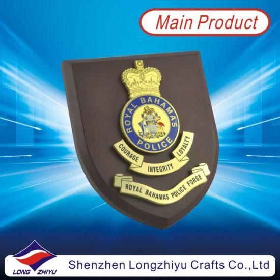 Custom Gold Plated Enamel Royal Police Wooden Award Plaque