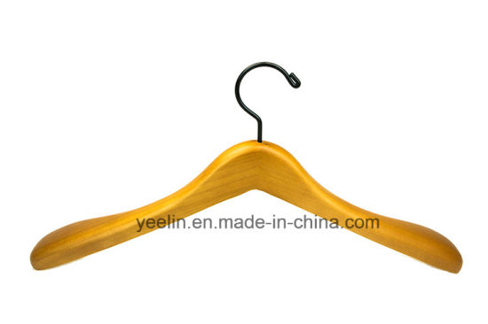 Wholesale Top Wooden Clothes Hanger for Man with Black Metal Hook (YLWD-b09) pictures & photos