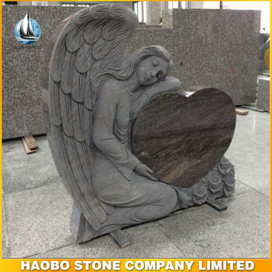 Carved Angel Holding Heart Memorial Headstone