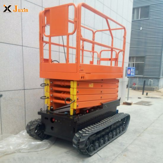 4m 6m 8m Hydraulic Electric Battery Power Tracked Crawler Scissor Lifting  Platform with Factory Direct Sale Price
