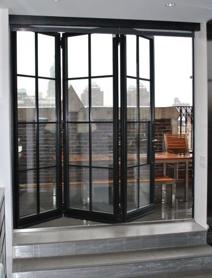 China Exterior Steel French Bifold Door With Wrought Iron China