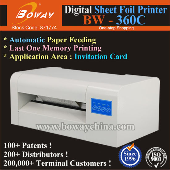 Boway 360c Automatic Paper Sheets Invitation Card Digital Hot Foil Stamping Gliding Machine pictures & photos