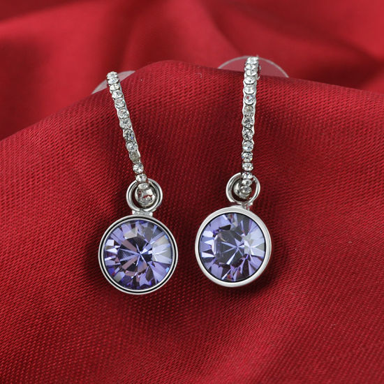 Elegant Purple Amethyst Crystal Rhinestone Pendant Jewellery Drop Earring pictures & photos