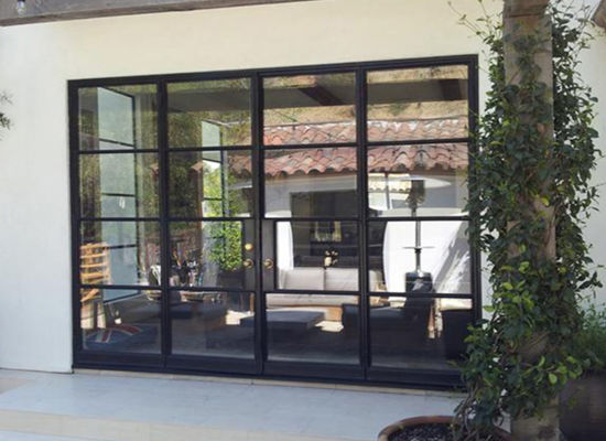 China Exterior Steel French Bifold Door with Wrought Iron - China ...