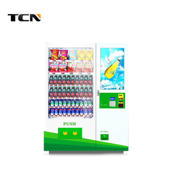 Tcn Snack Drink Bottle Canned Water Automatic Combo Custom Made Vending Machines with Advertising Screen