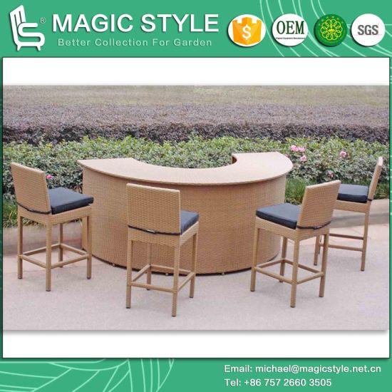 Rattan Bar Set Wicker Bar Stool Outdoor Bar Table Patio Bar Chair (Magic  Style)