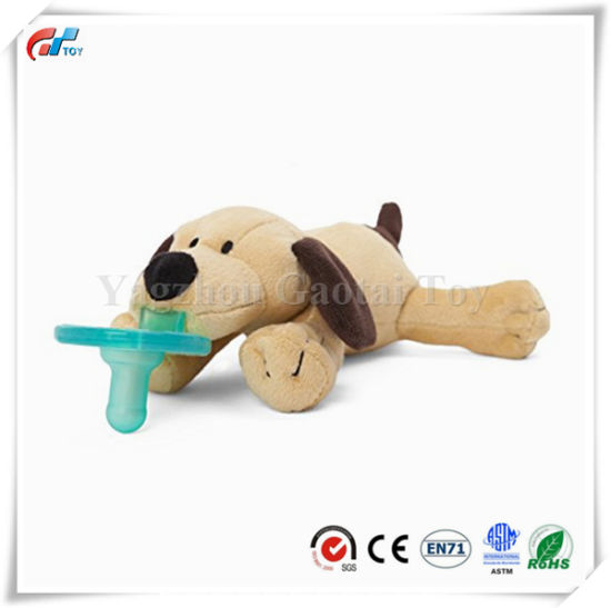Soft Brwon Puppy Design Animal Plush Pacifier Baby Toy