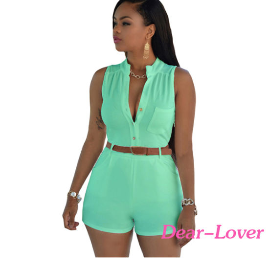 Fashion White Button Front Belted Romper pictures & photos