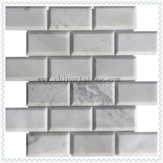 White 3D Marble Tumbled Stone Mosaic for Wall Tile