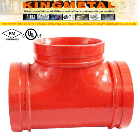 FM UL Approved Ductile Iron Red Grooved Tee