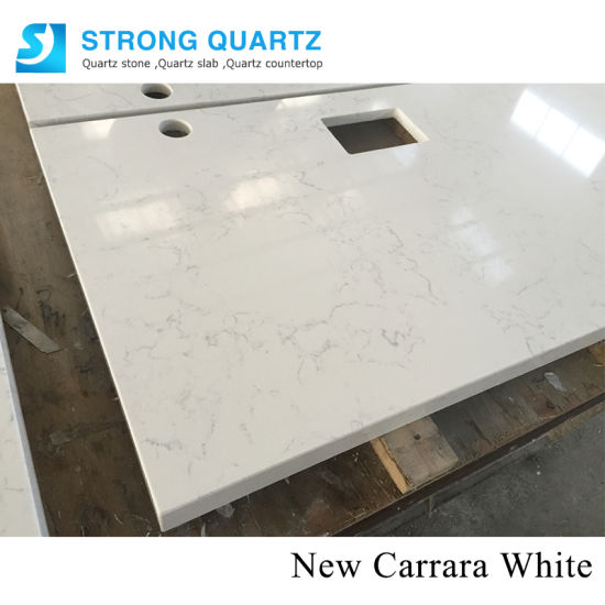Misty Carrara White Polished Artificial Quartz Stone Slabs for Kitchen Countertops/Engineered Stone/Vanity Tops/Hotel Design pictures & photos