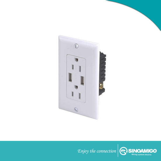 China Usb Outlet 15amp Tamper Resistant Duplex Wall Outlet And 2 1
