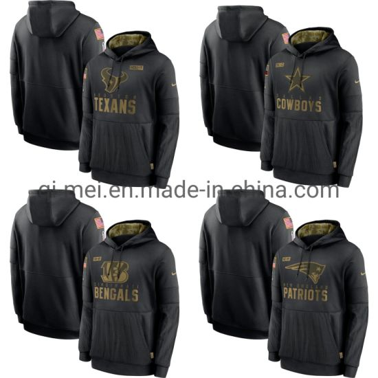 2020 Salute to Service Texans Cowboys Patriots Bengals Black Sideline Pullovers Hoodies