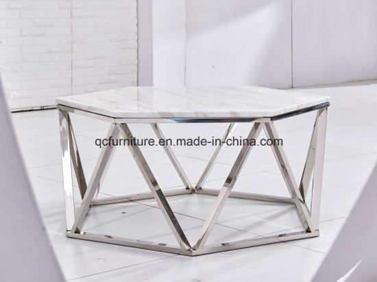 China Brass Metal White Marble Hexagon Frame Coffee Table China - Hexagon marble coffee table