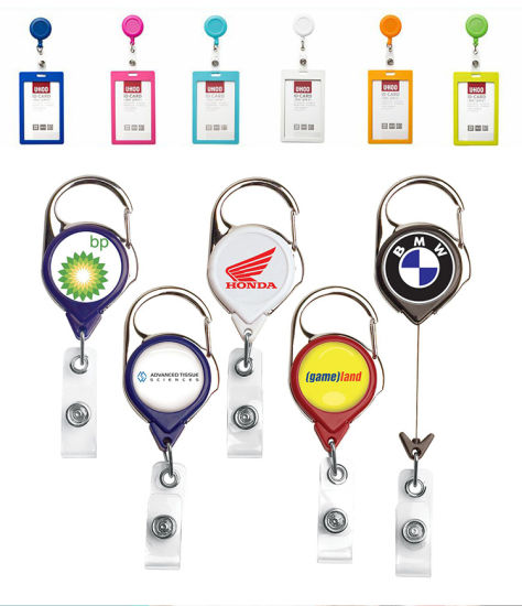 High Quality Custom Retractable Plastic Badge Reel Customized Design Printed Logo Yoyo Alligator Clip Carabiner Key Chain Lanyard Mini Metal Pull ID Card Holder pictures & photos